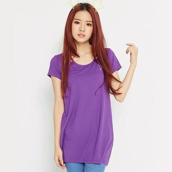 【TOP GIRL】特殊領口燙鑽logo長版T-紫