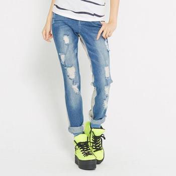 【TOP GIRL】刷破設計拼接牛仔長褲-藍
