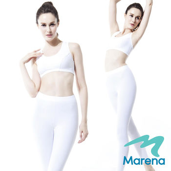 【美國原裝Marena】九分中腰提臀塑身褲/顯瘦機能內搭褲★白★