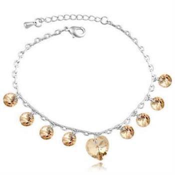 【米蘭精品】925純銀水晶手鍊銀飾唯美心形風格