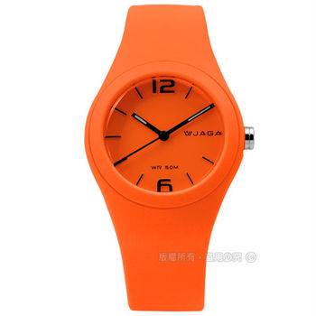 JAGA 捷卡 / AQ911-I / 時尚螢光系列運動橡膠腕錶 螢光橘 34mm