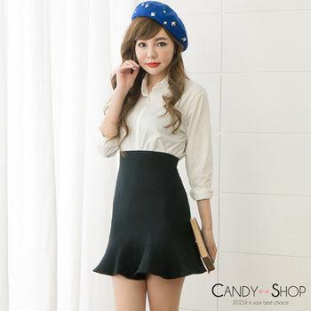Candy小舖 素面荷葉針織包臀短裙 3色選