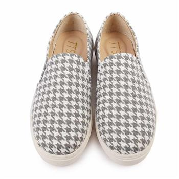 TTSNAP厚底樂福鞋-MIT百搭千鳥格紋真皮休閒鞋-千鳥灰-行動