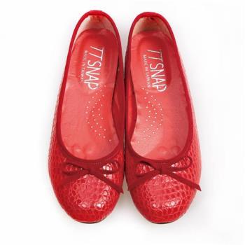 TTSNAP娃娃鞋-MIT動物紋麟片感真皮軟Q平底鞋-吸睛紅