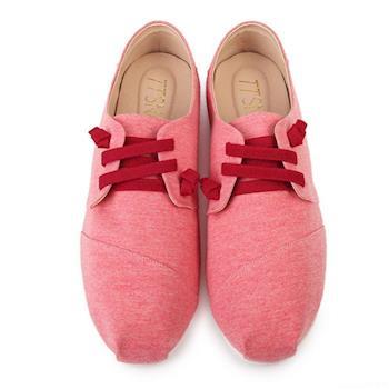 TTSNAP休閒鞋-MIT 小清新綁帶軟Q真皮懶人鞋-奶昔紅-行動