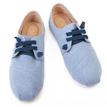 TTSNAP休閒鞋-MIT 小清新綁帶軟Q真皮懶人鞋-天空藍-行動