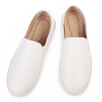TTSNAP厚底樂福鞋-MIT素面皮感牛紋真皮休閒鞋-簡約白