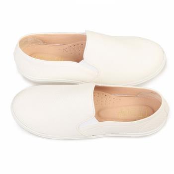 TTSNAP厚底樂福鞋-MIT鱗片皮革真皮休閒鞋-清新白-行動