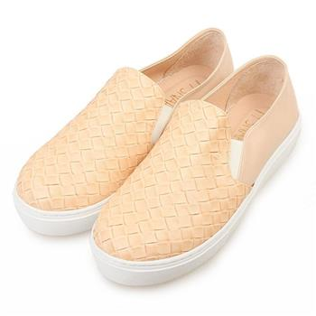 TTSNAP厚底樂福鞋-MIT素面皮革編織真皮休閒鞋-優雅米-行動