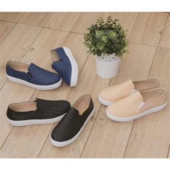 TTSNAP厚底樂福鞋-MIT素面皮革編織真皮休閒鞋-時尚藍-行動