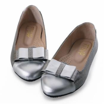 TTSNAP娃娃鞋-MIT真皮典雅大方蝴蝶結平底鞋-時尚銀-行動