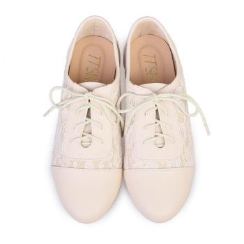 TTSNAP牛津鞋-MIT真皮蕾絲緹花平底鞋-優雅米-行動