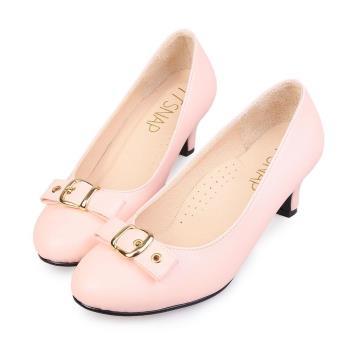 TTSNAP中跟鞋-MIT典雅皮帶飾釦真皮軟Q跟鞋-草莓膚