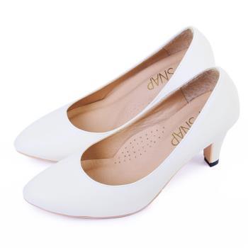 TTSNAP 高跟鞋-MIT時尚小尖頭真皮軟Q跟鞋-簡約白-行動