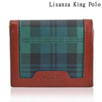 【Lisanza King Polo】 格紋對折短夾-綠格