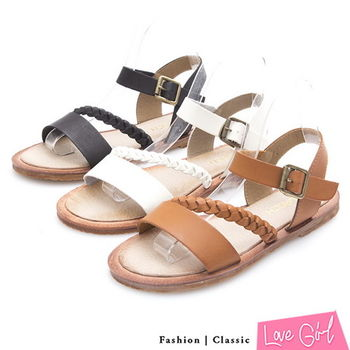 ☆Love Girl☆超軟牛皮寬面一字搭編織帶平底涼鞋