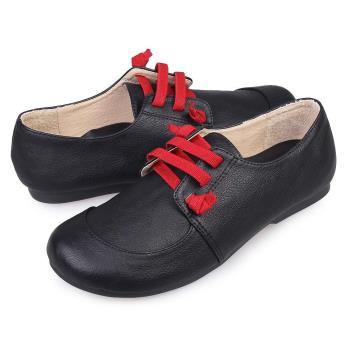 TTSNAP休閒鞋-MIT綁帶真皮軟Q平底饅頭鞋-共三色 (黑/可可/米)-行動