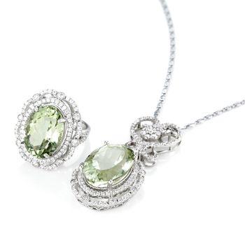美帝亞天然翠豔綠水晶(戒指+墜鍊)