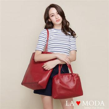 La Moda 品牌專屬系列 精美石頭紋肩背手提子母托特包(三色)