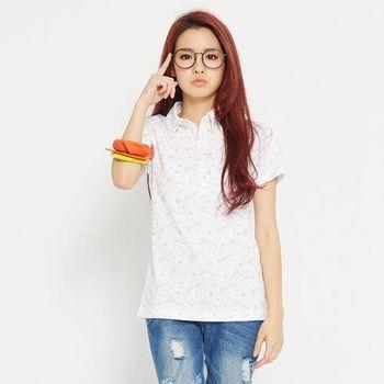 TOP GIRL 滿版星星吸排印花POLO衫-白