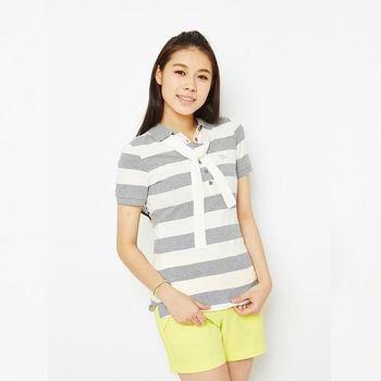 TOP GIRL 綁帶造型條紋POLO衫-淺灰