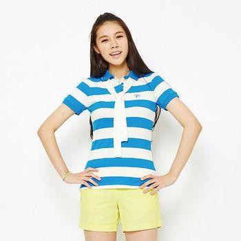 TOP GIRL 綁帶造型條紋POLO衫-藍