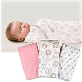 【美國Summer Infant】輕量細棉紗布寶寶毯(彩鑽粉3入組)-行動