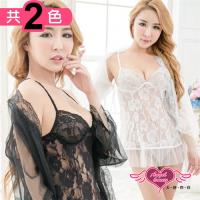 天使霓裳 罩衫 蕾絲玫瑰 薄透罩衫連身睡衣(共兩色) CN294