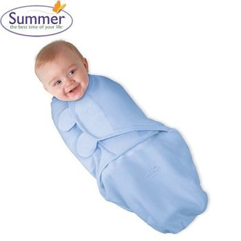 【美國Summer Infant】聰明懶人育兒包巾-刷毛絨布藍色-行動