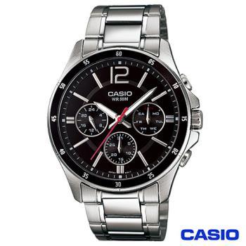 CASIO卡西歐 時尚三眼爵士石英腕錶 MTP-1374D-1A