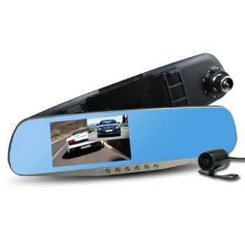 【行走天下】CR-05 雙鏡頭後視鏡行車記錄器(加贈8G記憶卡)