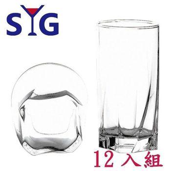 SYG玻璃造型四方底水杯375cc-12入組