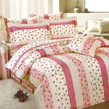 艾莉絲-貝倫 玫瑰公主(5.0呎x6.2呎)四件式雙人(高級混紡棉)鋪棉涼被床包組(粉米色)