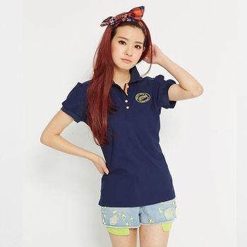 TOP GIRL 徽章繡花吸排公主袖POLO衫 (共二色)