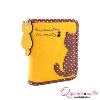 DF Queenin皮夾 - 繽紛糖果系點點貓背影零錢式短夾