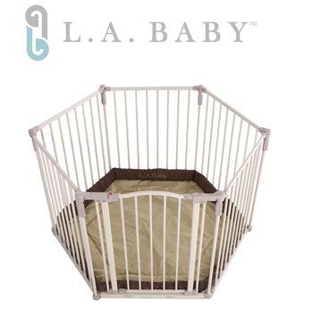 美國 L.A. Baby 多功能兒童安全自動上鎖遊戲圍欄/護欄 (附卡其色軟墊)