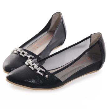 TTSNAP內增高-MIT方釦排鑽尖頭透膚網紗平底鞋-優雅黑-行動