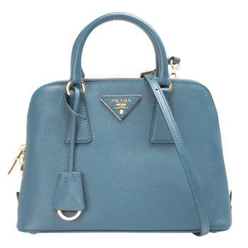 PRADA Saffiano Lux三角LOGO防刮牛皮三層拉鍊手提/斜背包(小-粉藍色)
