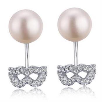 【米蘭精品】925純銀耳環珍珠耳飾面具優雅浪漫
