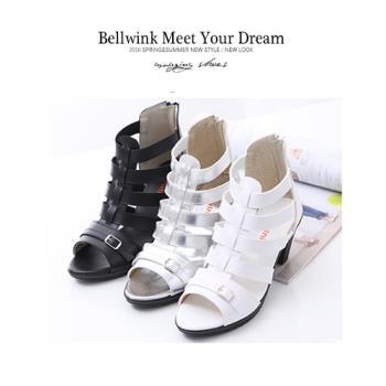 bellwink【B9302】羅馬交錯紋後拉高跟鞋-黑色/銀色/白色