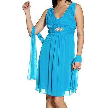 【摩達客】美國進口Landmark 皇家V領浪漫優雅藍色及膝紗裙派對小禮服/洋裝