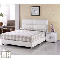 【AT HOME】班尼頓5尺白皮雙人床 不含床墊
