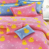 艾莉絲-貝倫 伊比鴨鴨-雙人特大四件式(100%純棉)薄被套床包組(粉紅色)