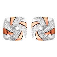 【Jewelrywood】純銀微鑲晶鑽風車雙色耳環(玫瑰金)