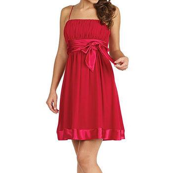 【摩達客】美國進口Landmark細肩帶深桃紅漸層浪漫百褶紗裙派對小禮服/洋裝