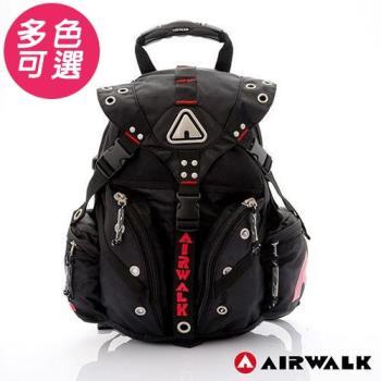 【美國AIR WALK】美式潮流三叉釦尼龍後背包-大(共八色)(買再送水袋)