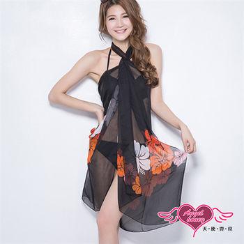 天使霓裳 度假風情 多種穿法外搭紗裙(黑底紅花F)-VA12510