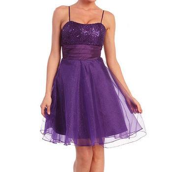 【摩達客】美國進口Landmark細肩帶紫色星閃蓬紗裙派對小禮服/洋裝(含禮盒/附絲巾)