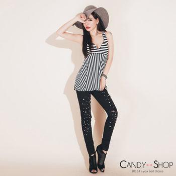Candy小舖 彈性碎鑽刷破內裡蕾絲貼身長褲