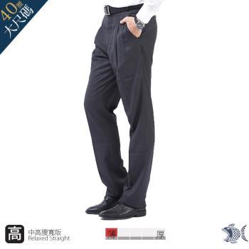 【NST Jeans】001(7249) 經典灰色雨絲紋 羊毛打摺西裝褲(中高腰 寬版)-行動